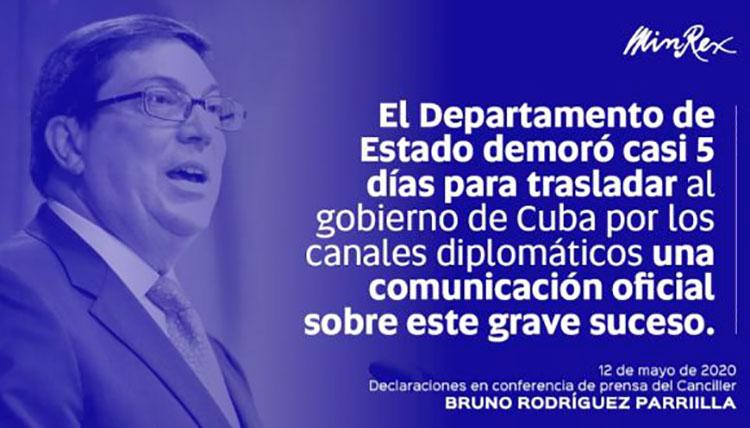 Bruno Rodríguez Parrilla: El silencio cómplice de los EE.UU. se torna sospechoso