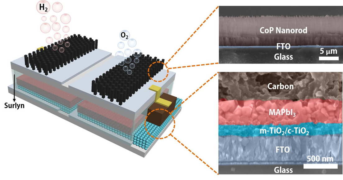 Esquema de la estructura del catalizador integrado, alimentado por energía solar, para dividir el agua en combustible de hidrógeno y oxígeno. / Foto: Jia Liang/Universidad de Rice.