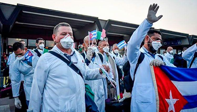 Brigada médica cubana parte de Lombardía. Foto: José Carlos Rodríguez/ Facebook.