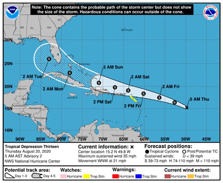 Se forma una nueva depresión tropical en el Atlántico central (+ Cono de trayectoria)