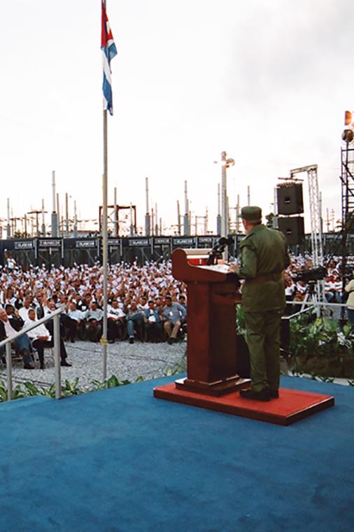 Fidel Castro Ruz en el acto por la instalación de los grupos electrógenos en Pinar del Río y la inauguración de la Revolución Energética, el 17 de enero del 2006