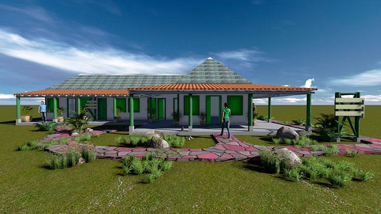 Así será la casa de acogida que forma parte del proyecto de la finca con el Parque Nacional y Patrimonio / Foto cortesía de Yosbel Fernández Martínez