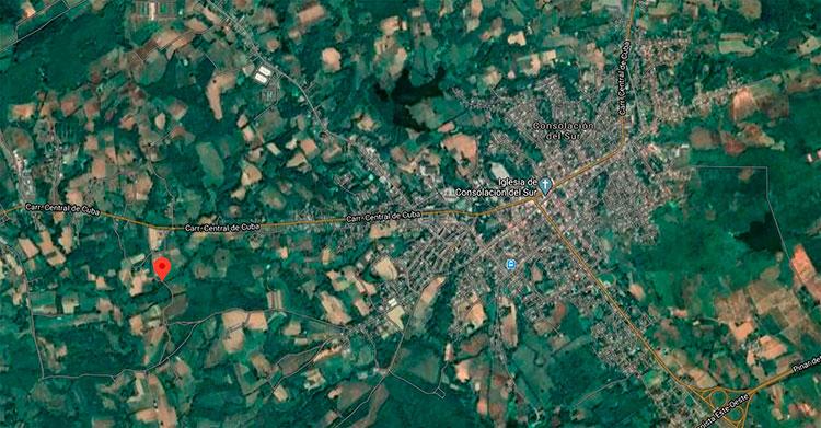 """Vista satelital de la locación del puente, geográficamente establecido a los 22°29'52.7"""" de latitud norte y los 83°32'41.6"""" de longitud oeste"""