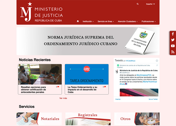 Sitio oficial del Ministerio de Justicia