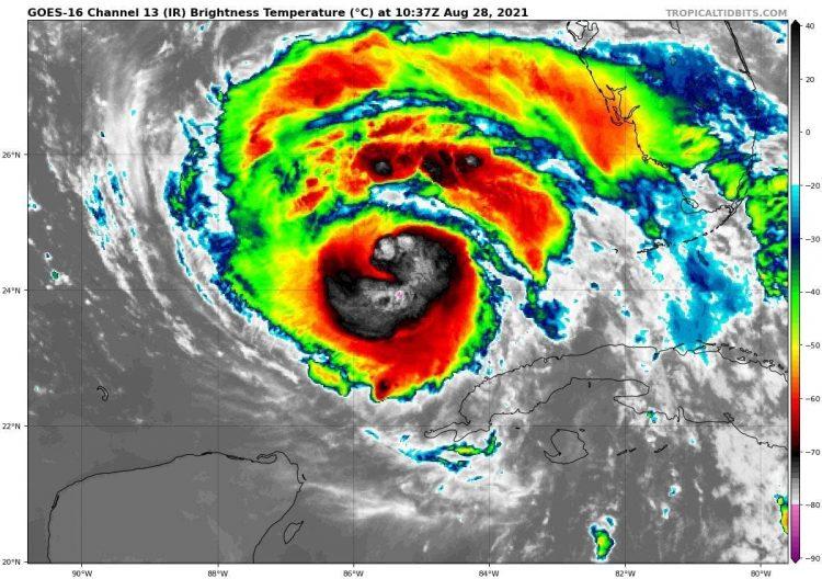 Imagen de satélite más reciente del Huracán Ida