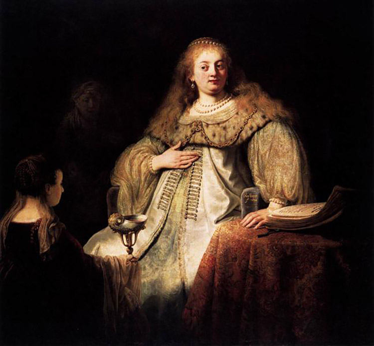 Judit en el banquete de Holofernes, de Rembrandt