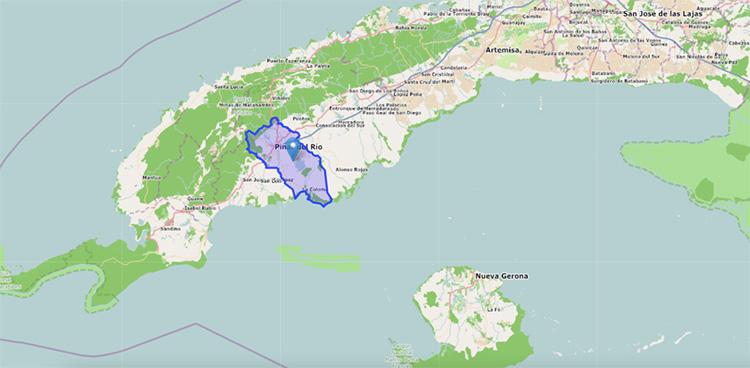 Mapa de Cuba geolocalizando a Pinar del Río. / Fuente: Cuba Mapa